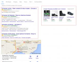 Google's nieuwe lay-out voor desktop zoekresultaten.